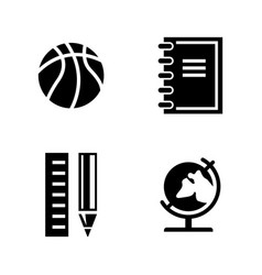 studying simple related icons vector image