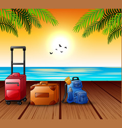 summer vacation concept with suitcase filled on th vector image