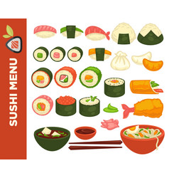 sushi rolls and japanese cuisine icons vector image