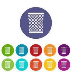 trashcan containing radioactive waste icons set vector image