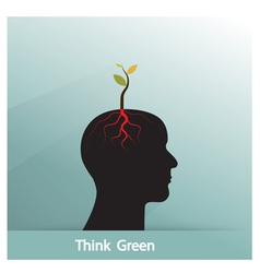 Tree of green idea shoot grow on human symbol vector image