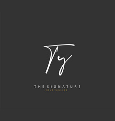 Ty initial letter handwriting and signature logo vector