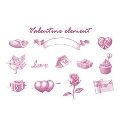 valentine element hand draw vintage engraving vector image