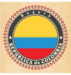 Vintage label cards of Colombia flag vector image