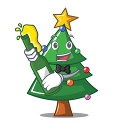 With beer christmas tree character cartoon vector