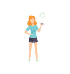 young woman holding used batteries people vector image