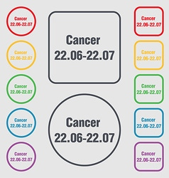 zodiac Cancer icon sign symbol on the Round and vector image