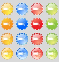 flashlight icon sign Big set of 16 colorful modern vector image