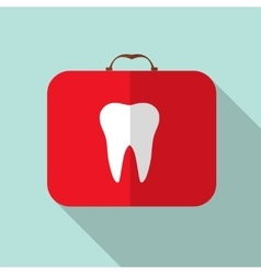 Red Medical Bag with a Tooth Sign Long Shadow vector image