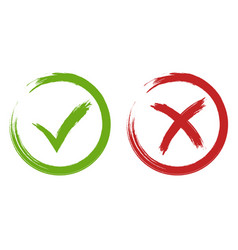 tick and cross signs green and red checkmark vector image