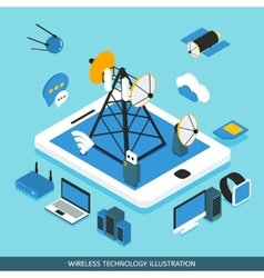 Wireless Technology Isometric Design vector image vector image