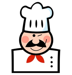 Chef Man Face Black Cartoon Mascot vector image