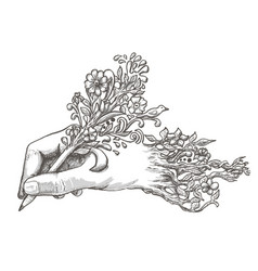 drawing hand with a flowering pencil vector image