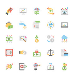 flat icons set of market and economics vector image vector image