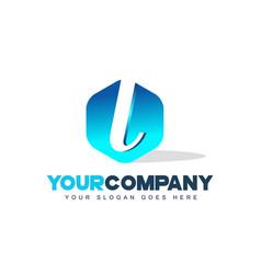 l letter logo hexagon shape modern design vector image
