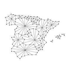 Spain map of polygonal mosaic lines network rays vector