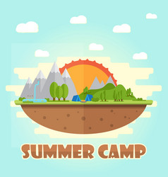 summer camping graphic poster typographic labels vector image vector image