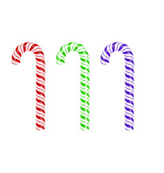 colored sweet striped candy cane vector image