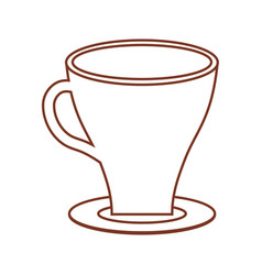 cup coffee plate thin line vector image