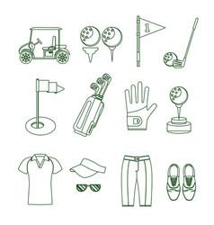 golf equipment thin line set vector image