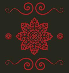 mandala pattern in red color vintage decorative vector image