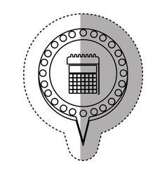 Monochrome sticker with calendar and circular vector