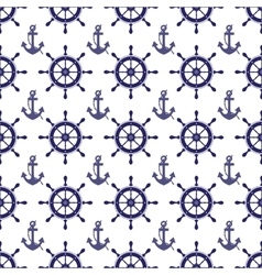 nautical wheel and anchor seamless pattern vector image