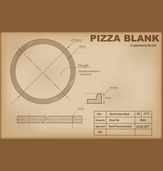 perfect pizza blank draw scheme vector image vector image