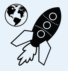 rocket ship and earth vector image