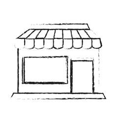 blurred silhouette cartoon facade shop store vector image vector image