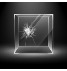 Broken Glass Box Cube Isolated on Black Background vector image vector image