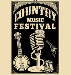 country music festival poster old style vector image