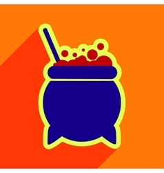 Flat with shadow icon cauldron on a bright vector