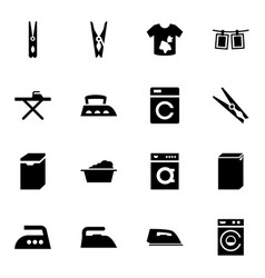 16 laundry icons vector image