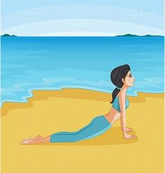 A girl doing yoga at the beach vector