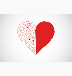 Abstract half full half empty heart icon from vector
