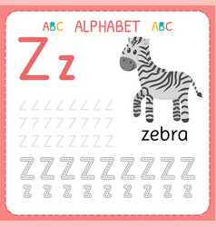 Alphabet tracing worksheet for preschool and vector