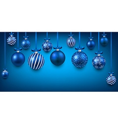 Arc background with blue christmas balls vector