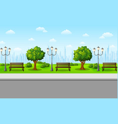 autumn city park with benches and trees vector image