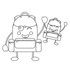 Backpacks school supplies kawaii icon imag vector