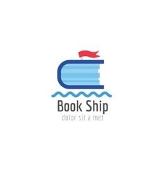 Book ship template logo icon back to school vector
