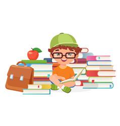 Boy pupil reading books alone vector