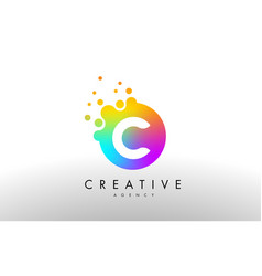 C rainbow dots letter logo letter design with vector