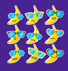 Cartoon banana emojis with sunglasses vector