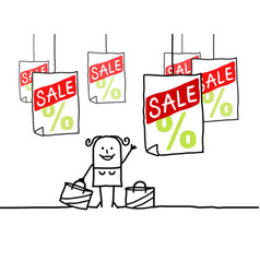 cartoon characters - shopping woman and sale vector image