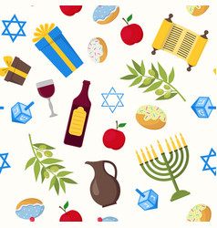 Cartoon hanukkah background pattern vector