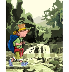 cartoon tourist with a backpack walking through vector image