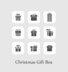 christmas set of gift boxes black vector image