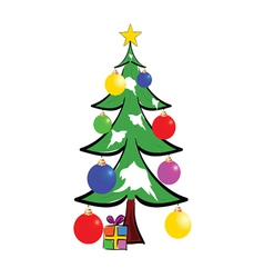 christmas tree with presents color vector image