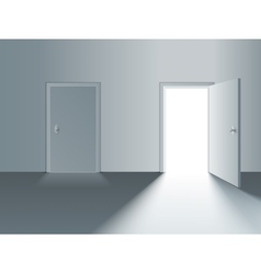 Closed and open door vector image